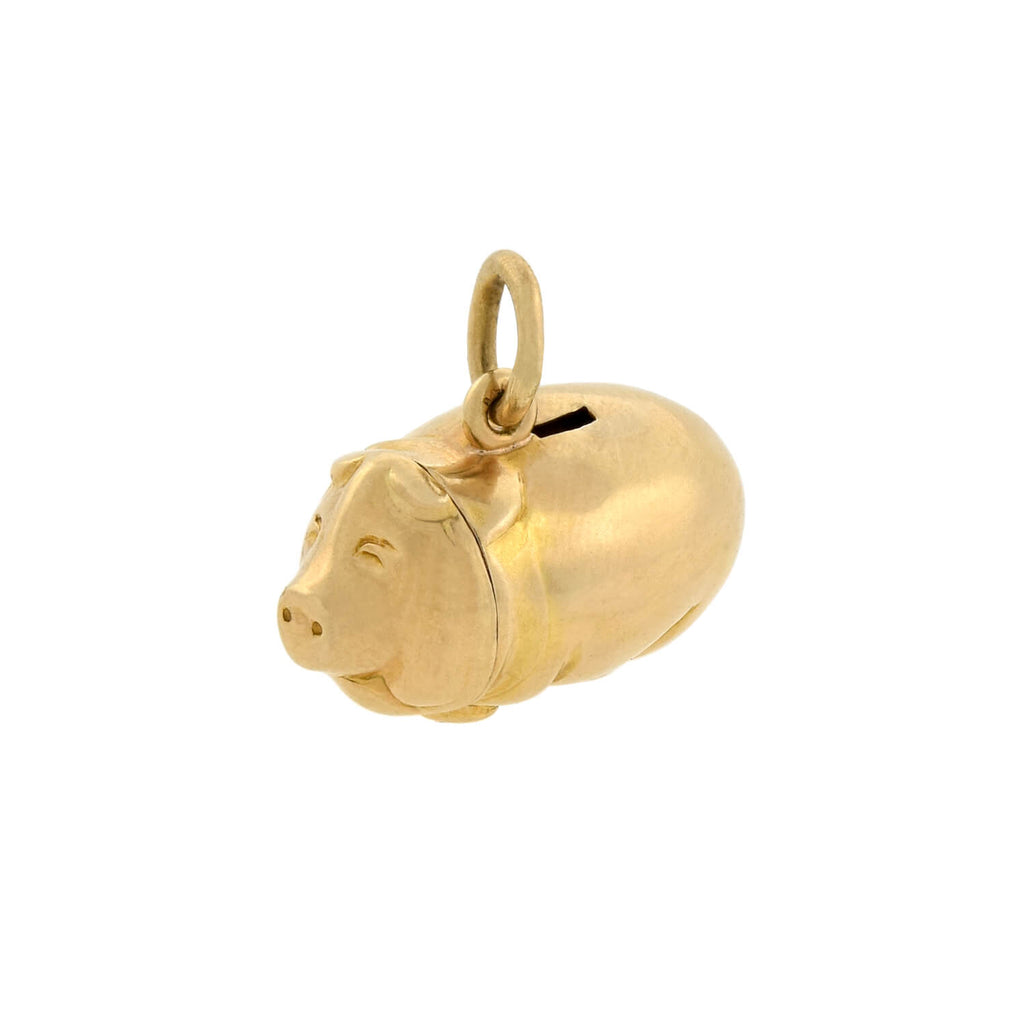 Vintage 14kt Gold Portly Piggy Bank Charm