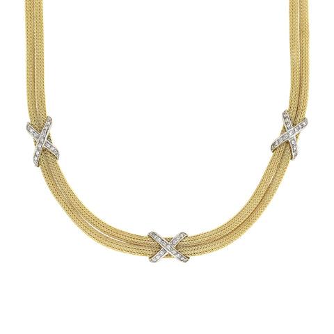 Estate 14kt Gold Diamond Two-Strand Mesh Chain Necklace