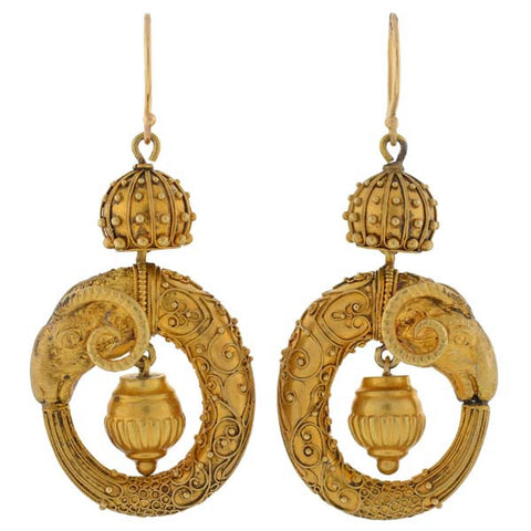 Victorian 15kt Etruscan Ram's Head Earrings