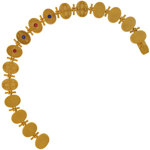 Victorian Gold-Filled Etruscan + Faux Gemstone Button Bracelet