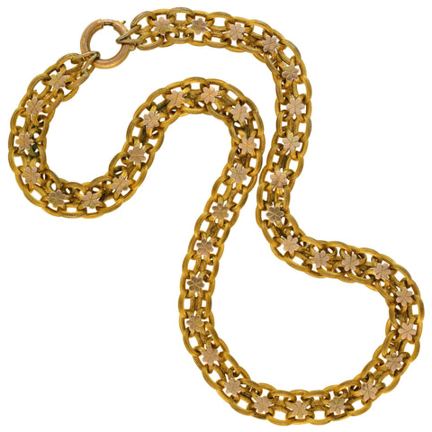 Victorian Gold-Filled Floral Motif Link Book Chain Necklace 18.5""