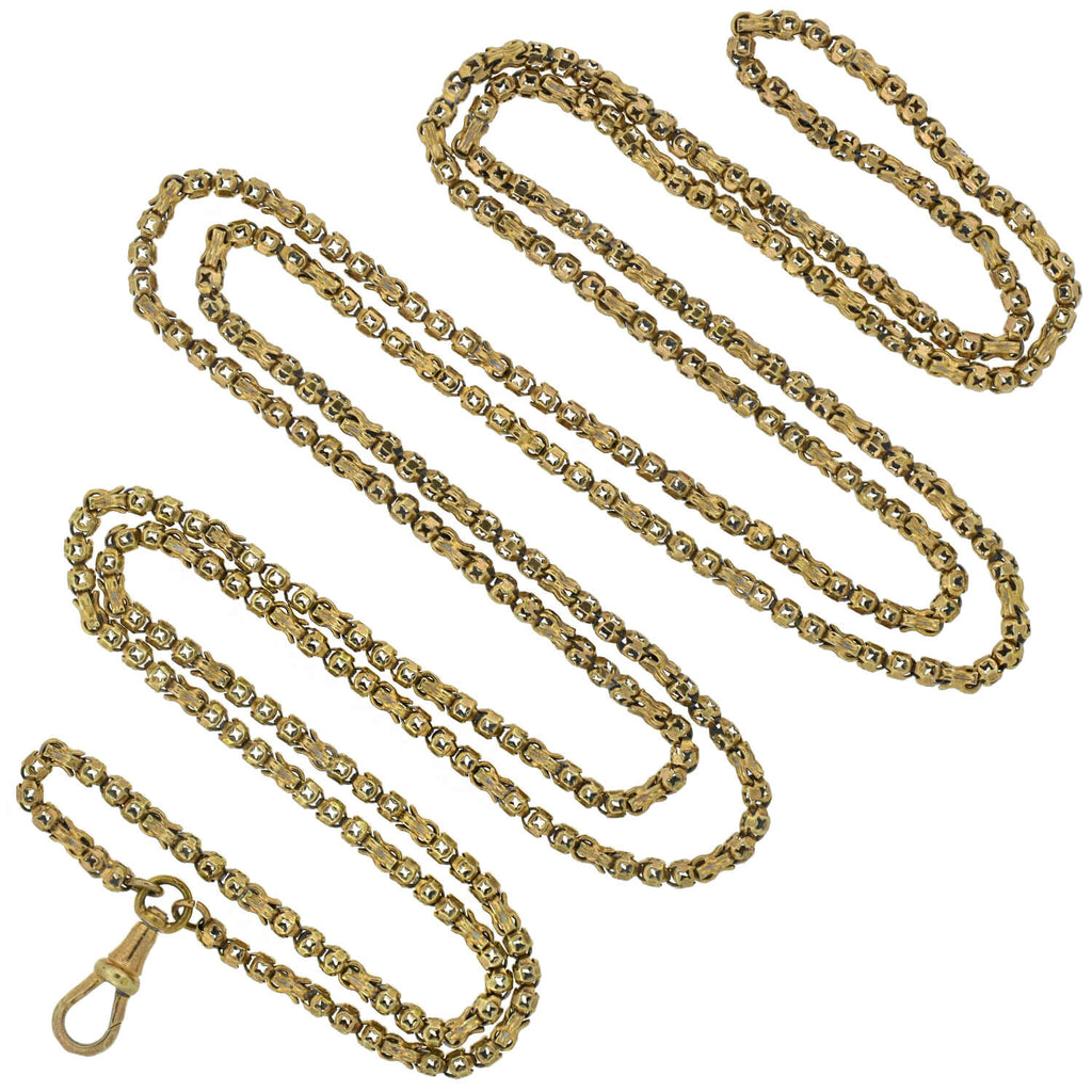 Victorian Gold-Filled Fancy Link Chain with Watch Clasp 54""