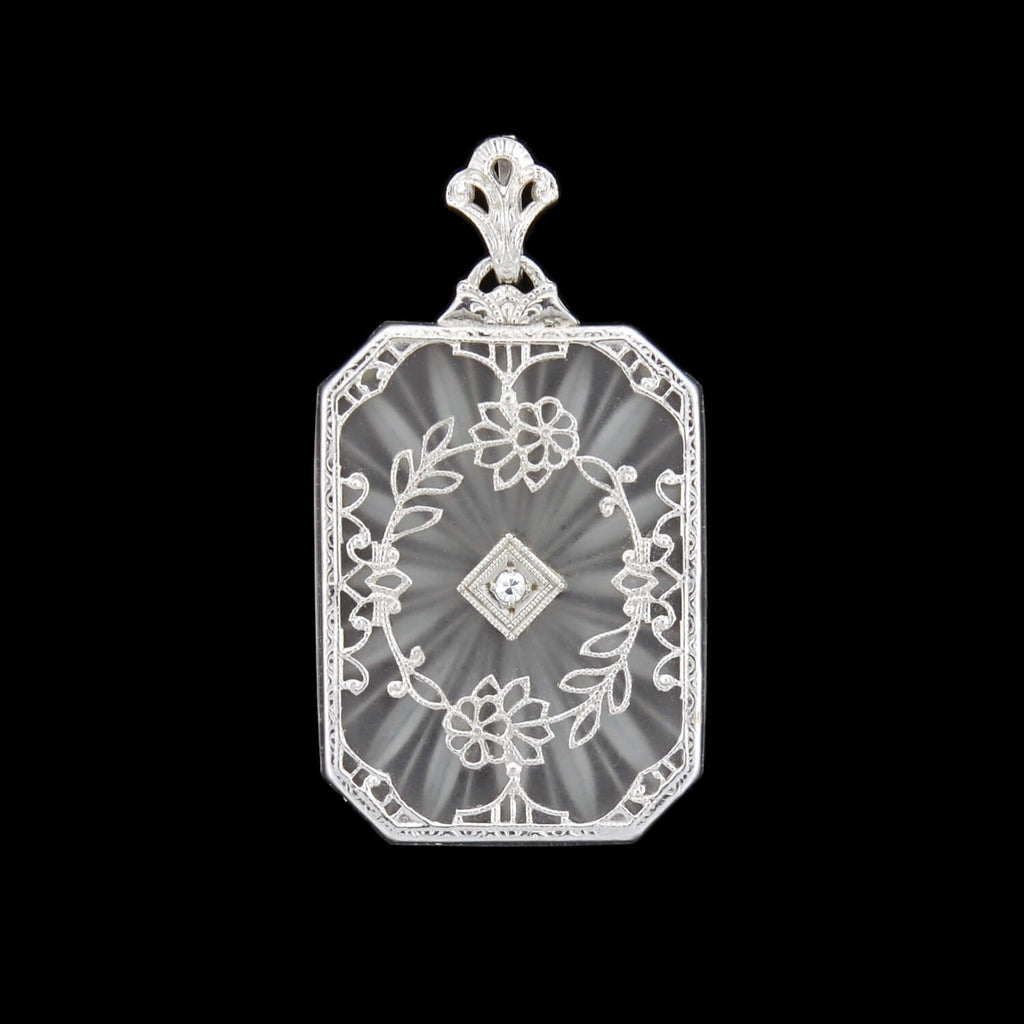Art Deco 14kt Rock Quartz Crystal + Diamond Filigree Pendant