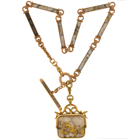 Victorian 14kt Inlaid Gold Quartz Watch Chain + Matching Spinner Fob