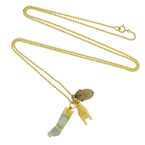 "Victorian 14kt ""Good Luck"" Multi Charm Necklace"