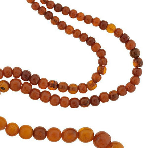 Late Art Deco Graduating Natural Amber Bead Necklace 34""