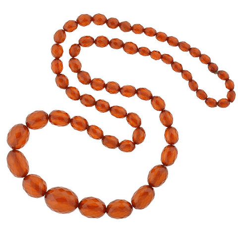Art Deco Faceted Amber Bead Long Necklace 38""