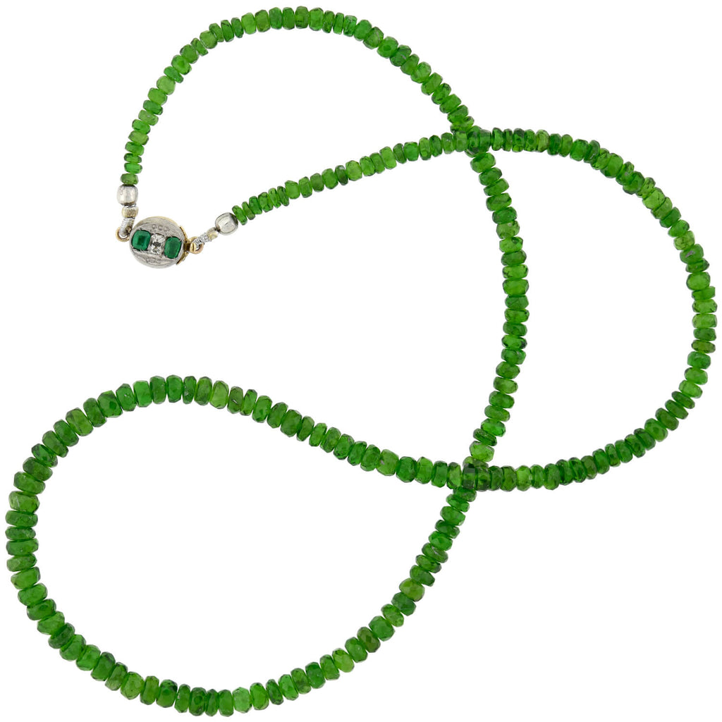 Estate Chrome Diopside Bead Necklace with 14kt Emerald + Diamond Clasp 17.75""