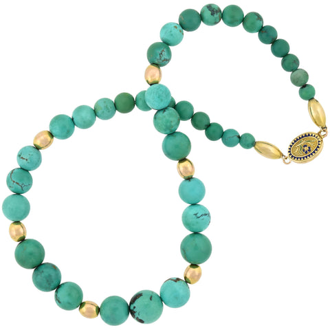 Victorian 14kt Graduated Turquoise Bead Necklace with Enameled Clasp
