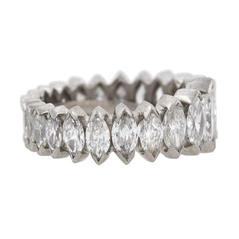Vintage Platinum Marquise Diamond Eternity Band 5.00ctw