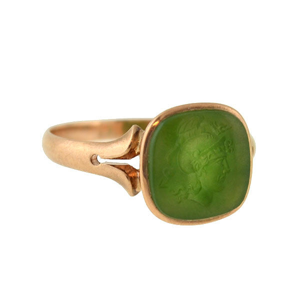 Victorian 14kt Green Agate Carved Intaglio Ring