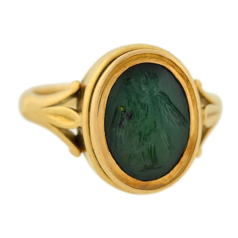 Victorian 18kt Green Agate Intaglio Ring