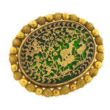 Early Victorian 20kt Inlaid Gold Green Glass Pin