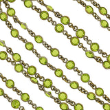 Art Deco Brass & Green Czech Crystal Chain 55