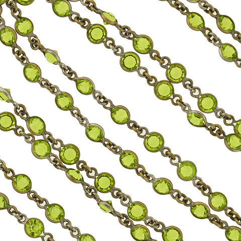 Art Deco Brass & Green Czech Crystal Chain 55""