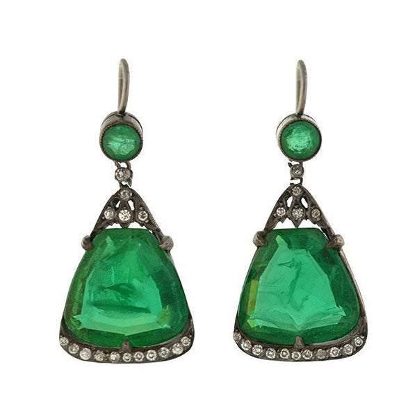 Art Deco French Sterling Green Crystal & French Paste Earrings
