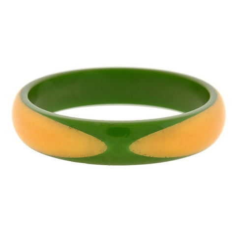 Art Deco 2 DOT Green & Yellow Bakelite Bangle Bracelet