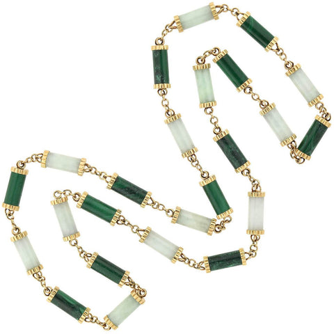 Vintage 14kt Nephrite Jade + Malachite Link Necklace 35""