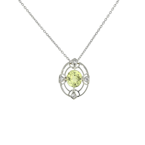 Edwardian Platinum/14kt Chrysoberyl + Diamond Pendant Necklace