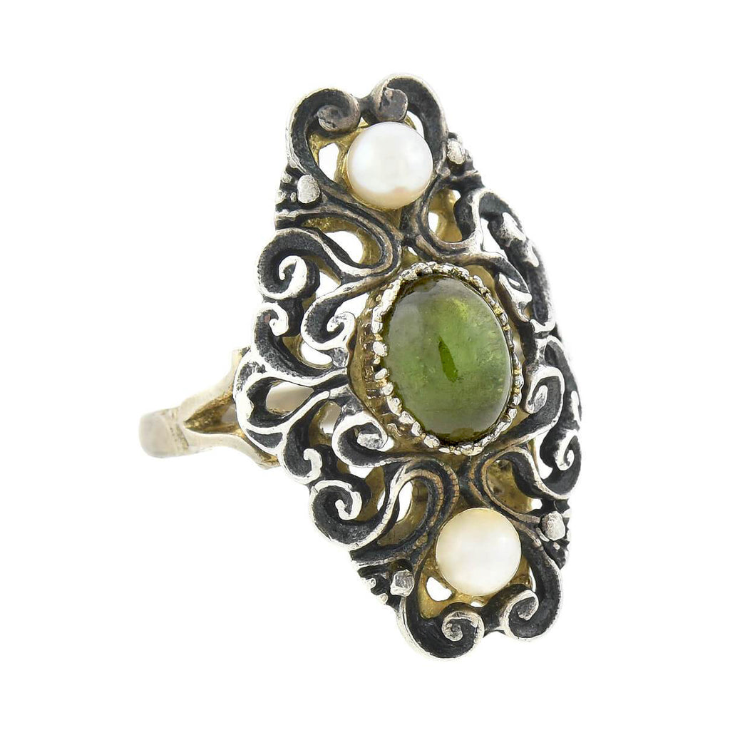 Arts & Crafts Two-Tone .800 Silver Green Tourmaline + Pearl Ring