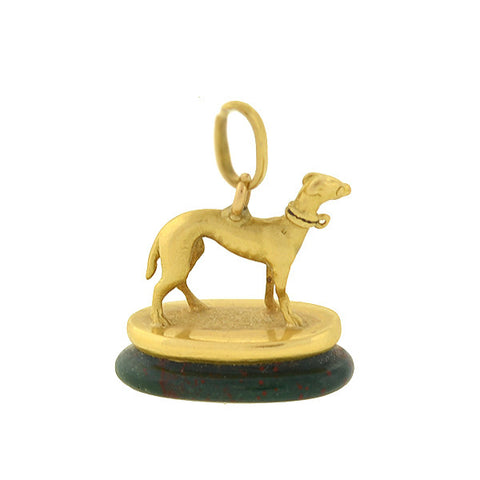 Victorian Petite 18kt Greyhound Dog Fob & Bloodstone Seal