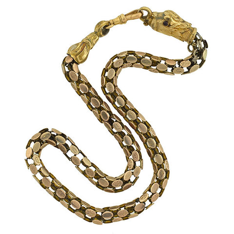 Victorian 14kt Flexible Cage Link Griffin Necklace