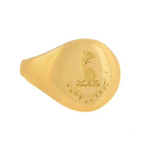 "Art Deco 18kt ""True and Strong"" Griffin Signet Ring"