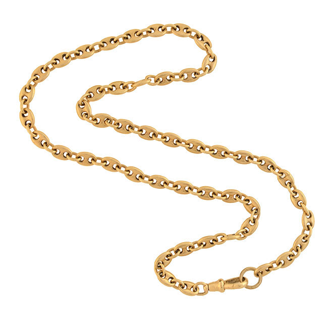 "Estate 14kt Anchor Link ""Gucci Style"" Chain Necklace 16"""