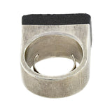 GUCCI Vintage Large Sterling Silver + Rubber Ring