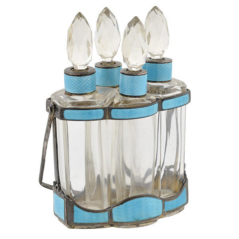 Art Deco Sterling Guilloché Enamel Crystal Perfume Bottle Set