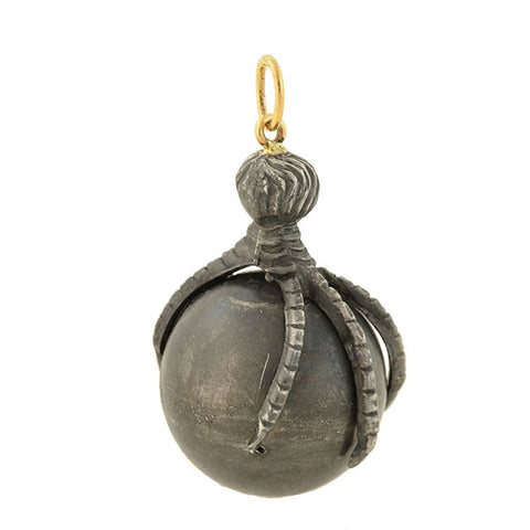 Georgian Large Blackened Sterling Orb + Claw Pendant