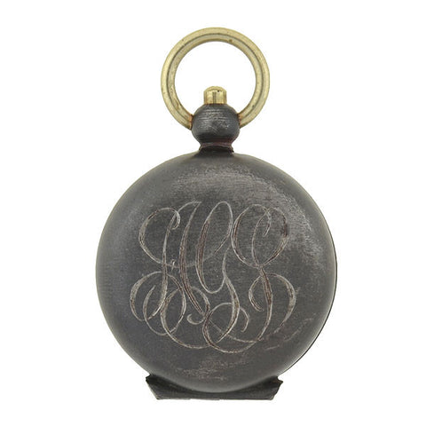 Victorian 14kt Gunmetal Coin Holder Locket Pendant