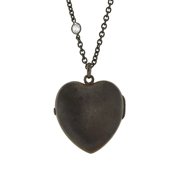 Victorian Gunmetal Heart Locket & Crystal Chain Necklace 62""