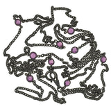 Victorian Long Gunmetal & Purple Crystal Chain 60