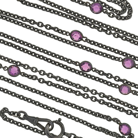 Victorian Long Gunmetal & Purple Crystal Chain 60""