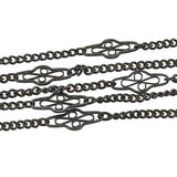 Victorian Long Gunmetal Filigree Link Muff Chain 59