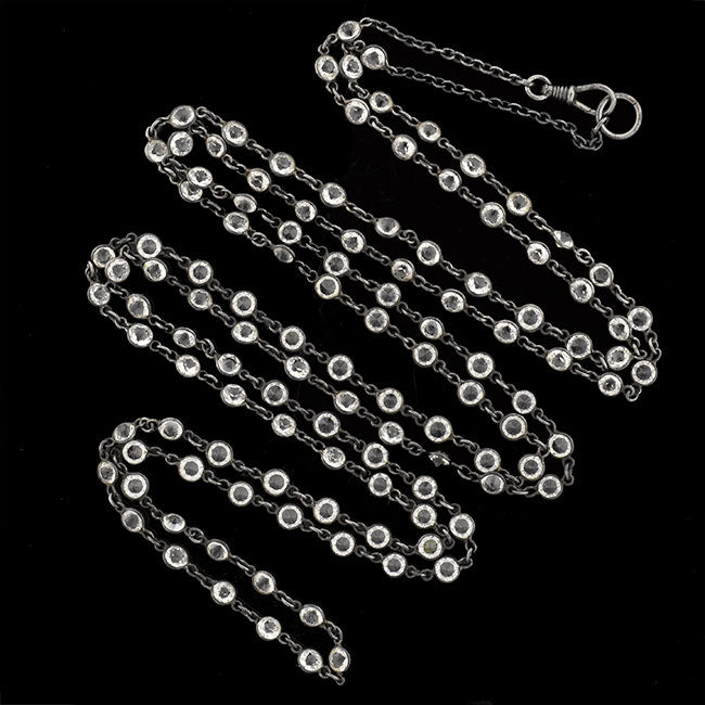 Late Victorian Long Gunmetal Crystal Chain Necklace 63""