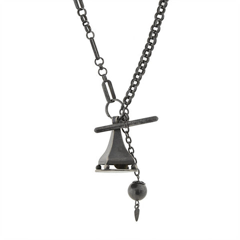 Victorian Gunmetal Vinaigrette Fob & Watch Chain Necklace