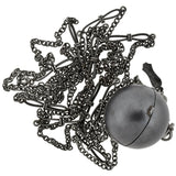 Victorian Gunmetal Spherical Coin Holder Pendant + Chain Necklace 52.75