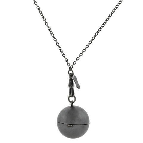 Victorian Gunmetal Spherical Coin Holder Pendant + Chain Necklace 52.75""