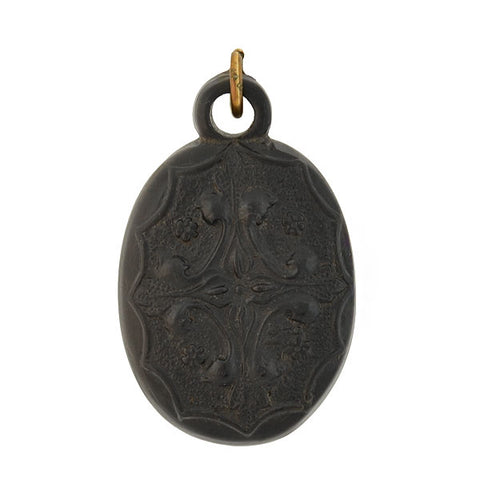 "Victorian Carved Jet & Inlaid Mother of Pearl ""Regard"" Pendant"