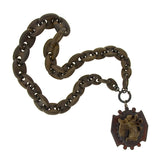 Victorian Gutta Percha & Carved Horn Chain & Pendant