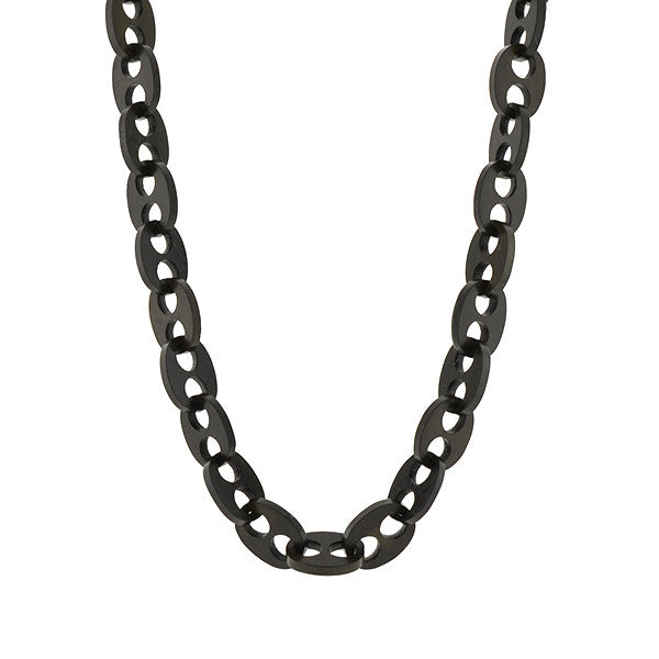 "Victorian Gutta Percha ""Gucci"" Style Link Chain Necklace 40"""