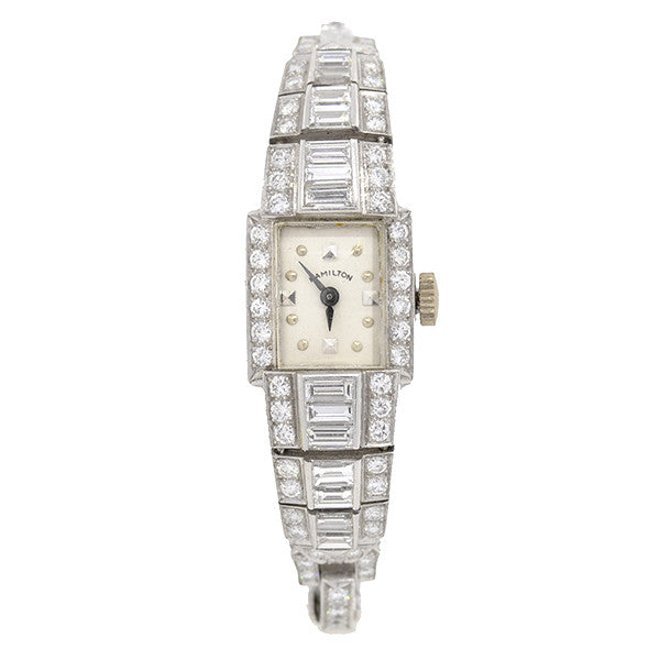 HAMILTON Late Retro Platinum & Diamond Watch