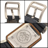 HERMES PARIS Estate 18kt Black Leather Quartz Watch