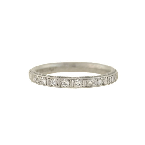 Art Deco Platinum Engraved Diamond Half-Band