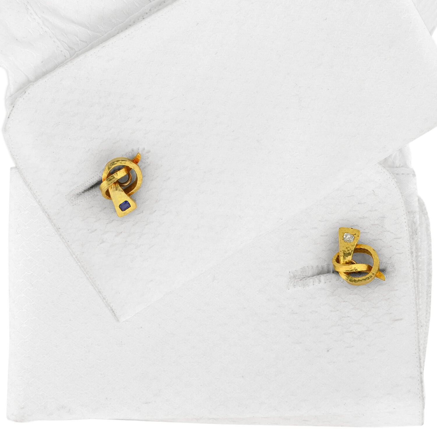 Arts and Crafts 14kt Diamond, Ruby + Sapphire Love Knot Nail Cufflinks