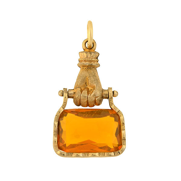 Victorian Gold-Filled Hand Motif Citrine Swivel Fob