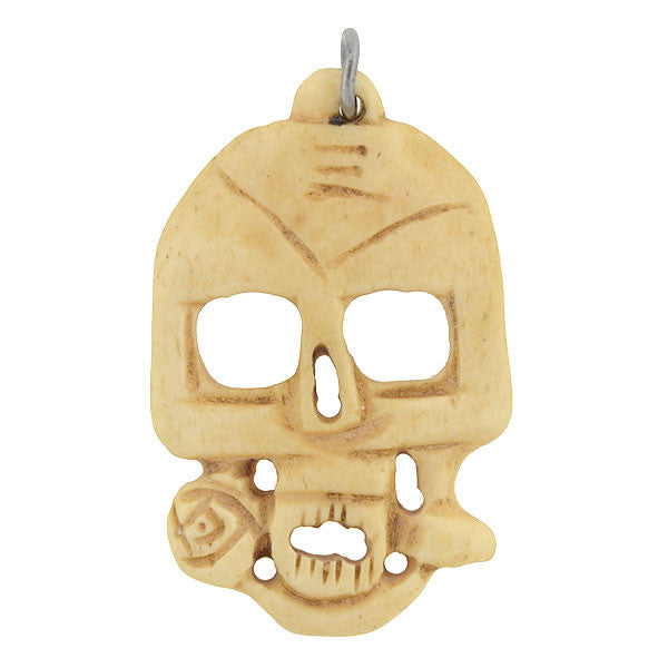 Estate Hand Carved Bone Skull & Rose Pendant