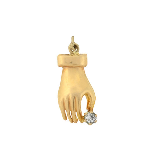 Victorian Petite 14kt French Paste Hand Charm